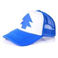 2016 Fashion Gravity Falls Cap BLUE PINE TREE Trucker Hat Cartoon Trucker Caps New Curved Bill