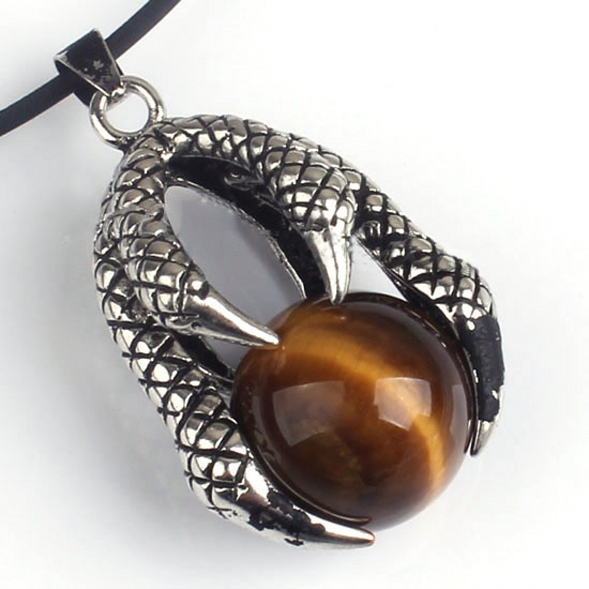 wholesale 10Pcs Charm fashion Silver Plated Dragon Claw Tiger's eye precious stone Beads Pendant Jewelry For Necklace