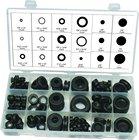 125 Piece Black Rubber Grommet Assortment Set Plug Wire Ring Assortment Kit Electrical Gasket Tools Washers Seals Hardware Set
