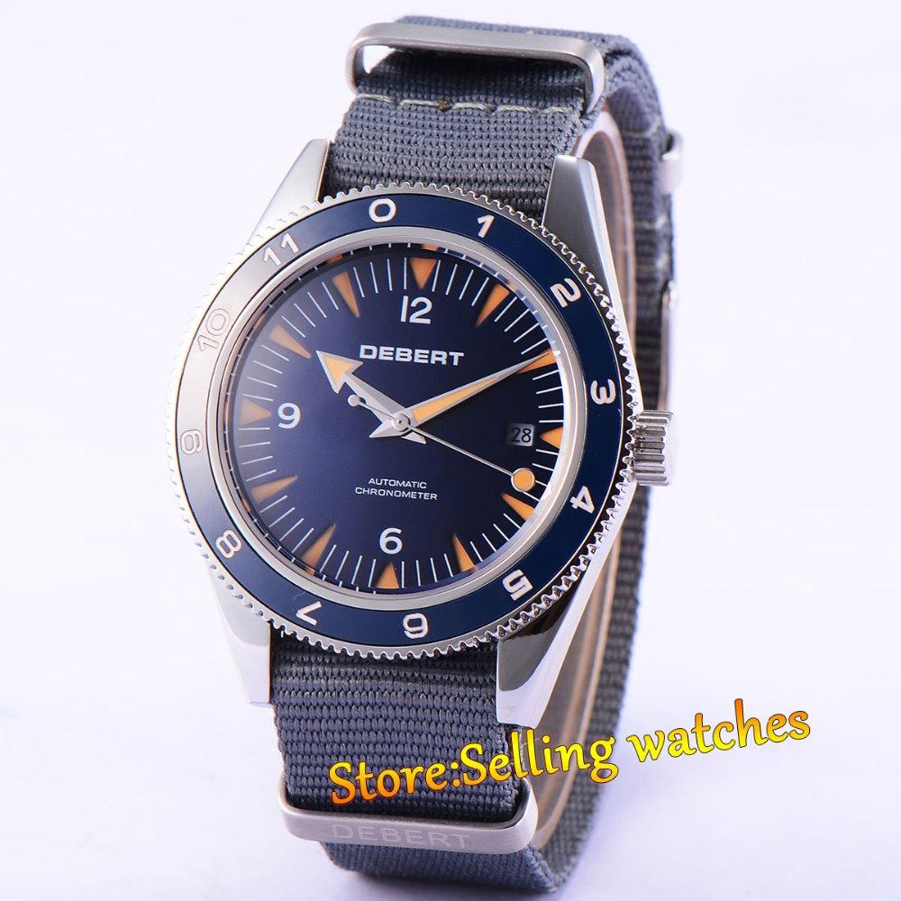 лучшая цена 41mm debert blue dial sapphire glass miyota Automatic chronometer mens Watch