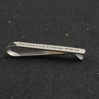 Customized Stamp Name Men Sterling Silver Tie Clip Groomsman Wedding Jewelry Personalized Engraved Statement Tie Pin Wholesale