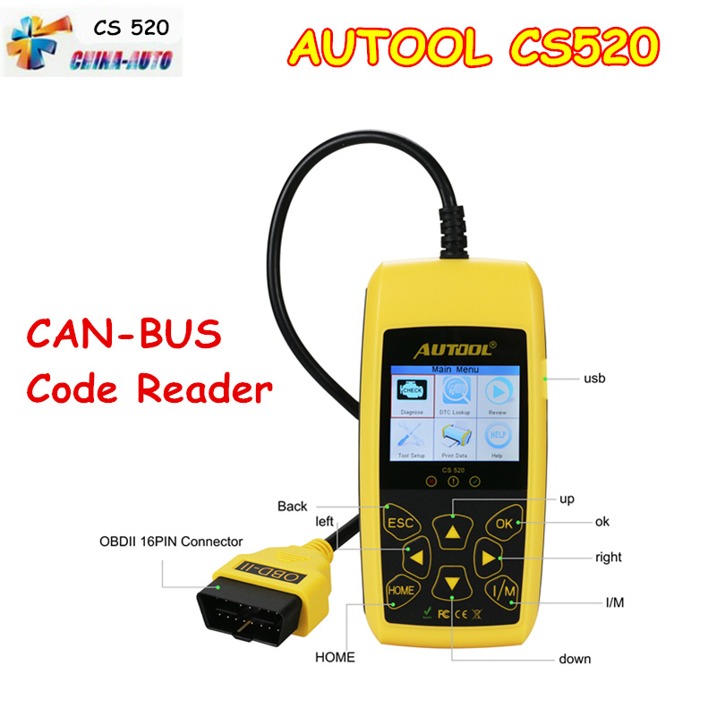 AUTOOL CS520 OBD2 OBDII CAN BUS Code Reader Live Data Automotive Fault Autool CS 520 OBD Diagnostics Scanner CS 520