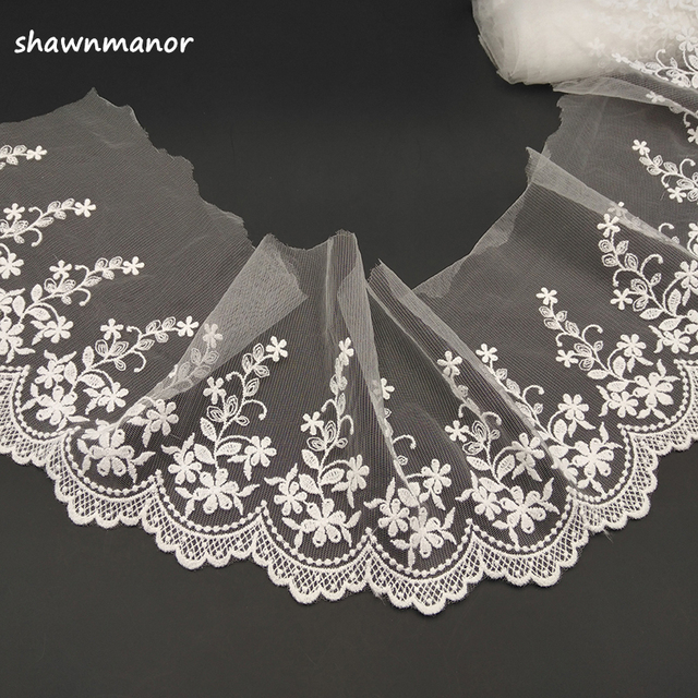 5Yards Embroidered Net Lace Trim Flower Lace Fabric For DIY Sewing Dress  Clothes Accessories Off White a4363614bde5