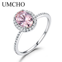 UMCHO 925 Sterling Silver Round Classic Pink Sapphire Ring Gift For Women Engagement Party Ring Fine