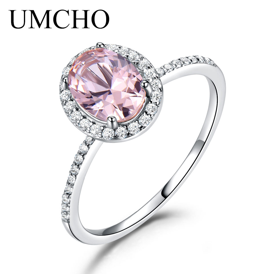 UMCHO 925 Sterling Silver Ring Oval Classic Pink Sapphire Rings For Women Engagement Morganite Wedding Band Fine Jewelry New цена