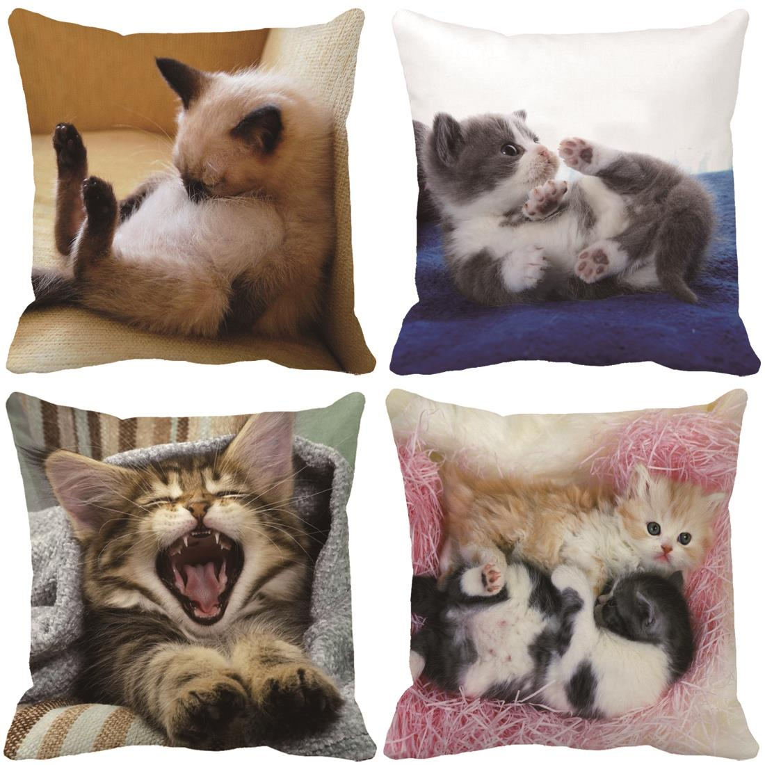 Lovely Kitty Cats Print Custom Decorative Pillows For Couch Bed Car  Cushions Home Decor Throw Pillow