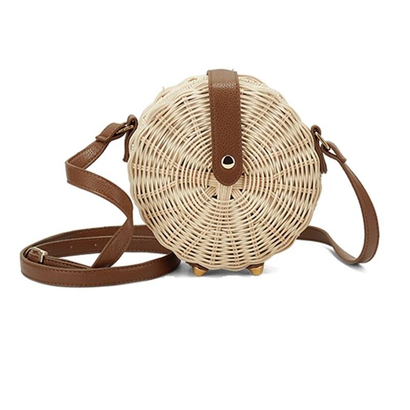 Nouveau femmes sac de paille bohème Bali rond paille rotin sac en osier cercle plage sac à main à la main Kintted sacs à bandoulière bolso bambu