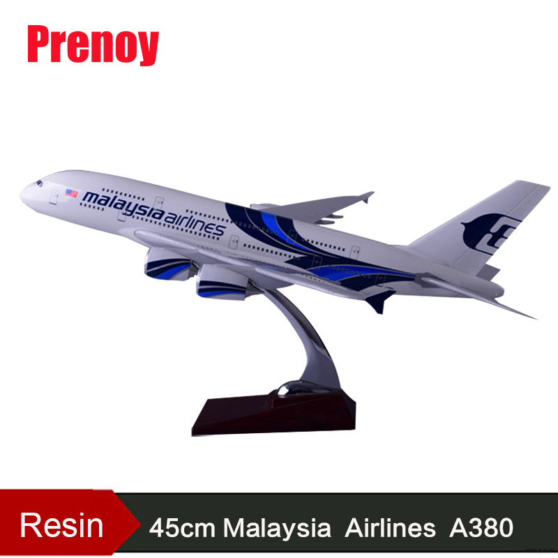 45cm A380 Malaysia Airlines Airplane Model Resin Malaysia Airways Airbus Model A380 Aircraft Model Creative Adult Children Toy 11167 phoenix malaysia airlines jubli 50 emas 1 400 b777 200er commercial jetliners plane model hobby