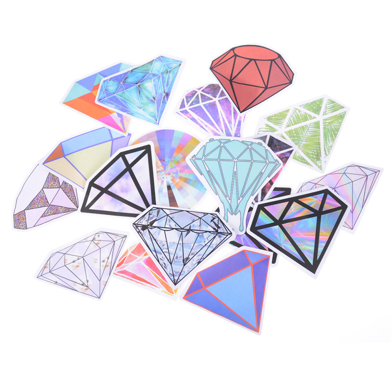 18 Pcs/set Diamond Shape Transparent Clear Stickers Norepeat for Pad Phone Case Laptop Car Skateboard Helmet Bicycle Suitcase