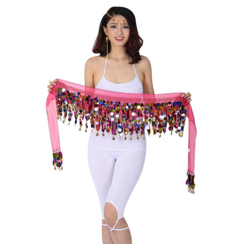 Cute Belly Dance Hip Chiffon Skirt Scarf Wrap Belt With Golden Coins Sequins 10 Colors Dancing Accessories