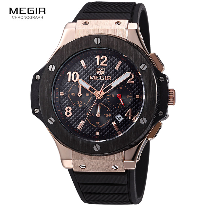 цена MEGIR Original Quartz Men Watch Big Dial Silicone Sport Military Watches Clock Men Chronograph Wristwatch 3002 Relogio Masculino