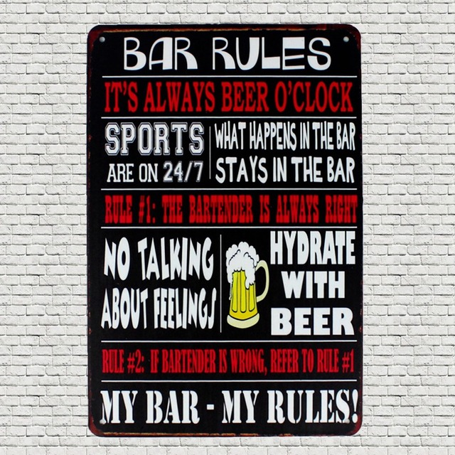 Bar Rules Beer Tin Metal Signs Vintage Plates For Wall Pub Home Art ...