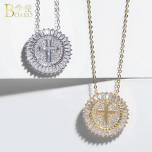 BOAKO Crystal Rhinestone Cross Necklace Women Gold Silver Color Round Circle Pendant Long Chain Hiphop Jewelry