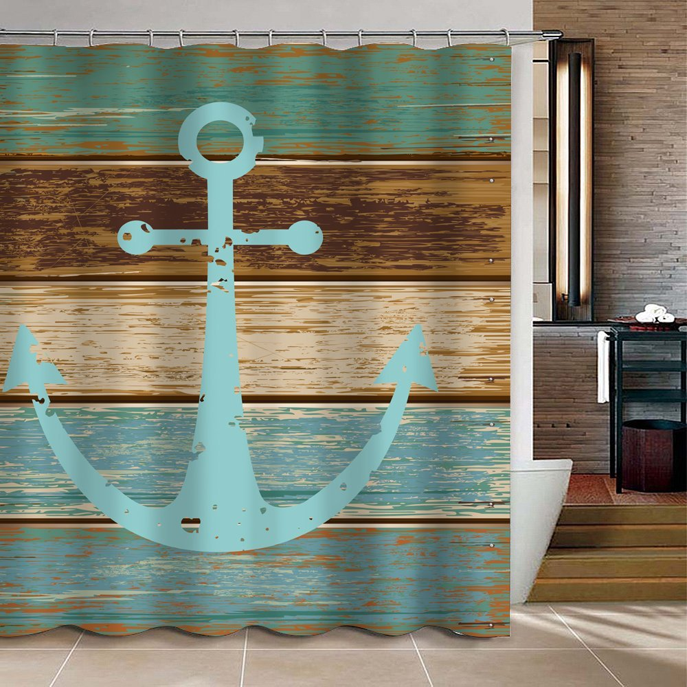 CHARMHOME Vintage Retro Nautical Anchor Custom Bathroom Shower Curtain    Turquoise And Brown Polyester Fabric Bathroom