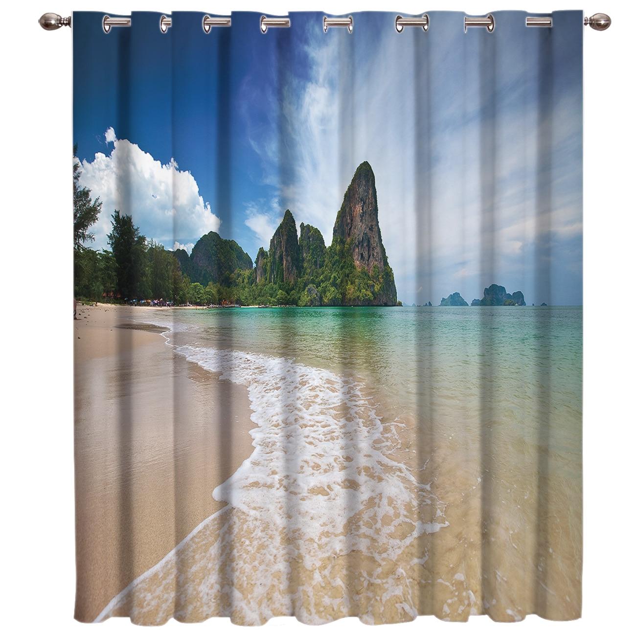 Nature Beach Sea Window Treatments Curtains Valance Window Curtains Dark Curtain Lights Blackout Outdoor Indoor Fabric Decor Kid