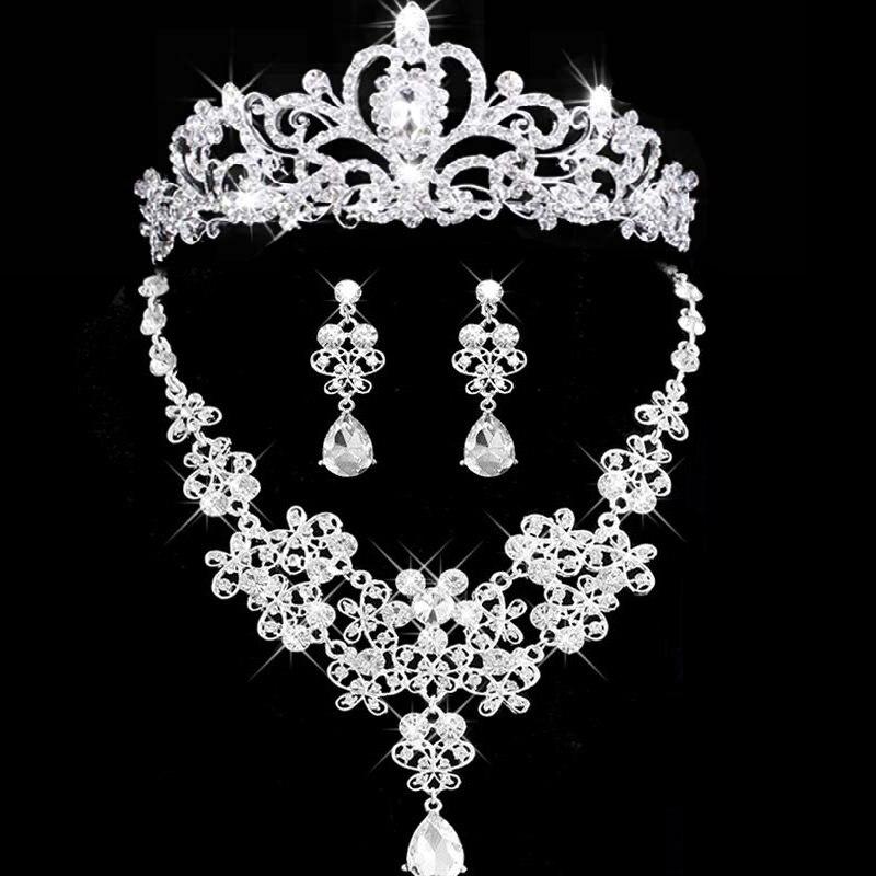2018 Nova Joia nupcial tiara colar e brinco conjunto Coroa Tiara de Strass Acessorios joias Do Casamento de Noiva de cristal