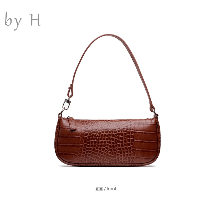 by H 100% genuine leather alligator chic baguette new arrival Burgundy top handle bag shoulder bag clutch croco embossed bag