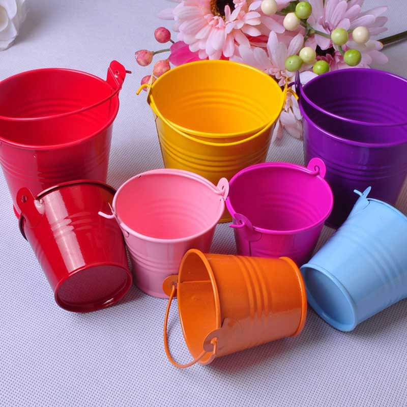 1pcs Small Drum Creative Wedding Candy Box Craft Color Tin Desk Home Furnishing Potted Succulents Room Decoration S $