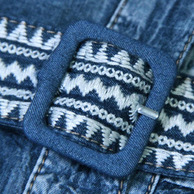 קיץ נשים שמלות 2017 שמלת ג 'ינס בציר חדש פרחוני רקמה חצי שרוול יחיד חזה החגור Vestidos A8129 Vestido