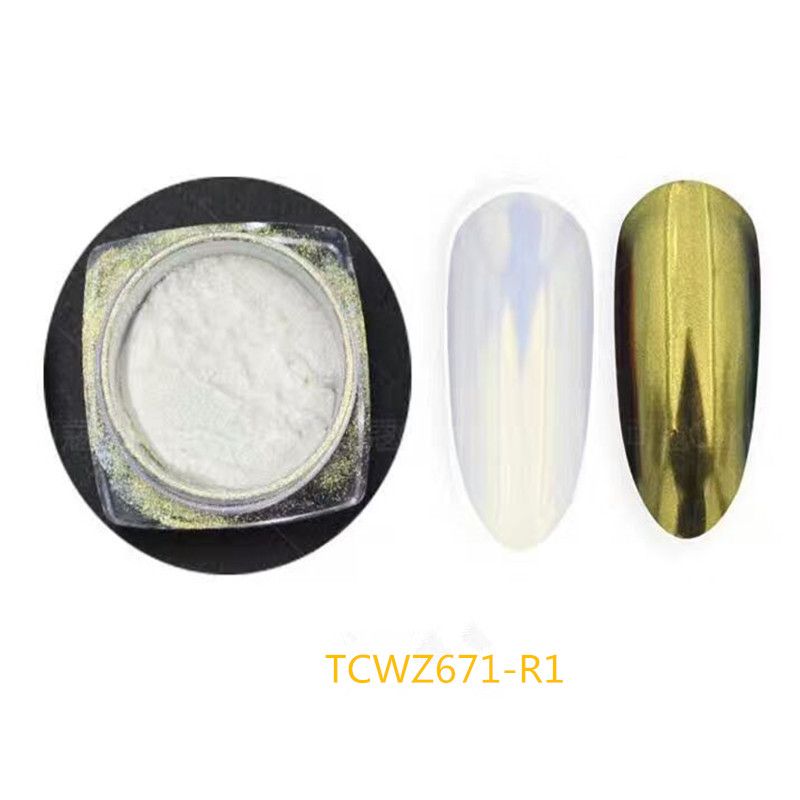 TCWZ671-R1 Tridimensional twinkling diamond gold color pearlescent powder Color shifting magic pigment for nail art or others