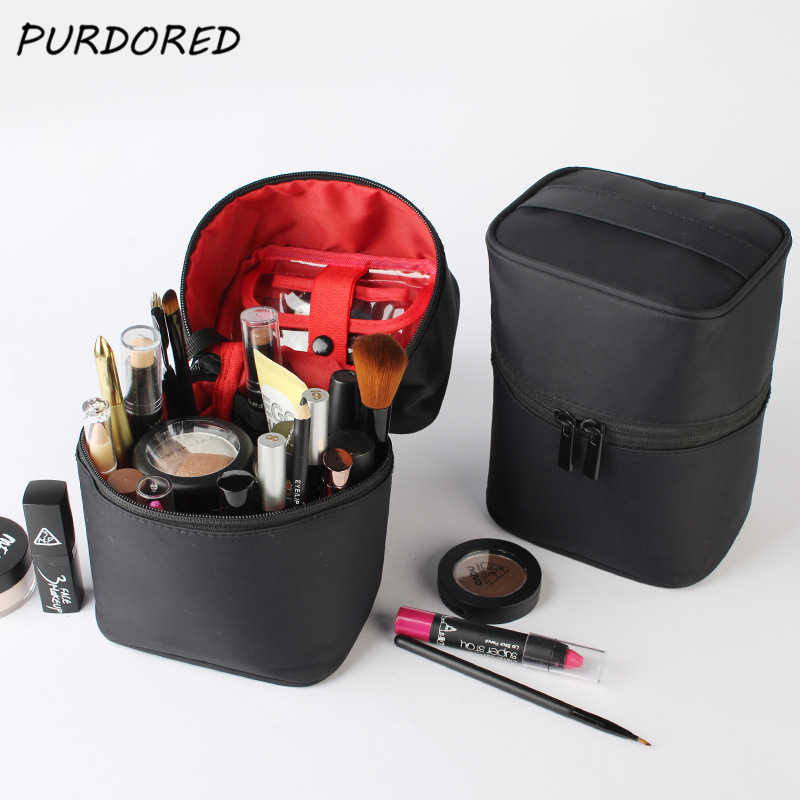 7c6ae887a34d PURDORED 1 pc Solid Cosmetic Bag Women Travel Bag Cylinder Toiletry Bag PU Makeup  Pouch Handbags
