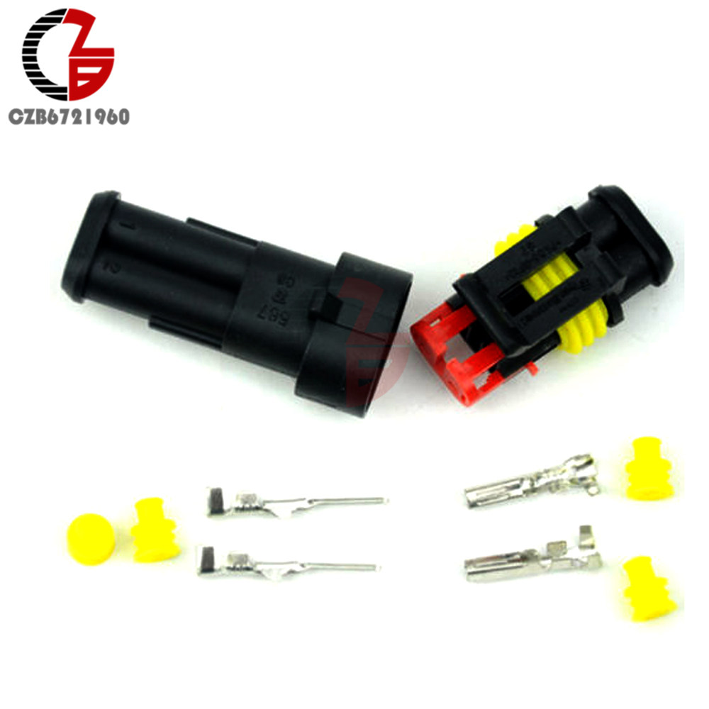 10Kit 2 Pin Way Sealed Waterproof Electrical Wire Connector Plug Cars Auto
