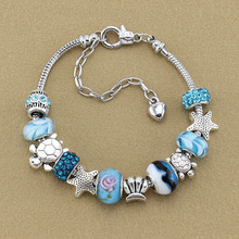 Europe and the  sell like hot cakes fashion DIY conch bracelet   Blue glass bead bracelet female Jewelry