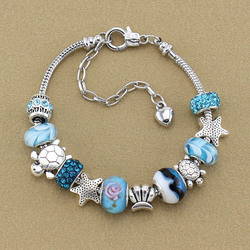 L'europe et la vente comme des petits pains mode DIY conque bracelet Bleu en verre perle bracelet femme Bijoux