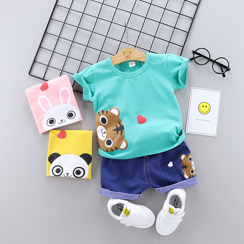 Baby Girls Clothes Set Summer Infant Boy Clothing Set Outfits Cartoon Cotton Outfits Shirt + Dnim Shorts Baby Children Clothing