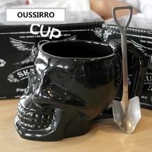 OUSSIRRO Black 3D Creative Skull Mug Ceramics Coffee Big Drink Water Cup Mens Halloween Gift 420ml