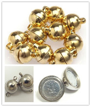 10Pcs 6/8mm Sliver Gold Jewelry Bracelet Necklace Round Beads Magnetic Clasp DIY Connectors Accessories Making Fittings цена и фото