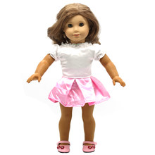 Girl Doll Clothes White Short Sleeve t-shirt + Pink Blue Skirt Suit for 16-18 inch Dolls Doll Accessories X-11(China)