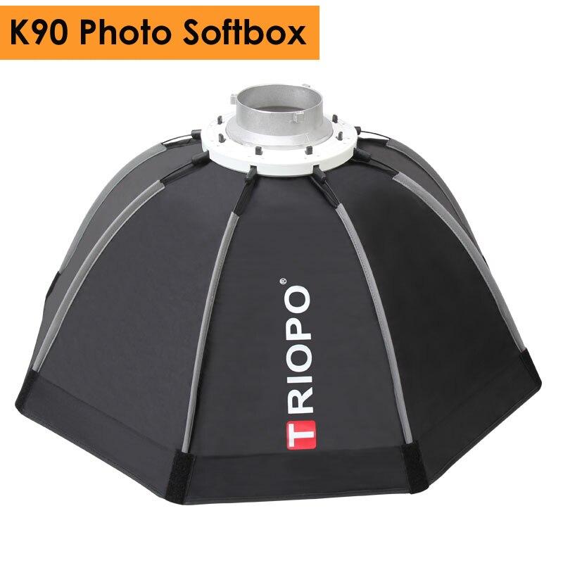 Triopo 90 cm Photo Portable extérieur Bowens mont octogone parapluie boîte souple avec sac de transport pour Studio vidéo photographie Softbox