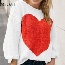 MayHall Drop Shoulder Knitted Long Sleeve Women Pullovers Heart Printed Sweaters Casual Patchwork ropa invierno mujer 2018 MH331