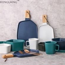 1 шт. KINGLANG в скандинавском стиле, керамическая матовая тарелка для завтрака с ручкой из натурального дерева, обеденная тарелка для отеля и дома, посуда