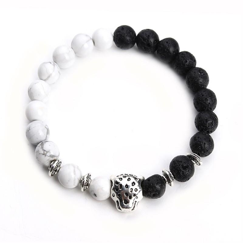 top View: Tibetan Leopard Head Bracelet With Black Lava Stones & White Howlite Stones