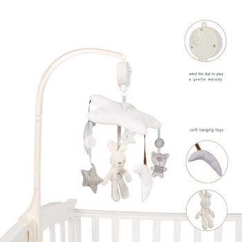 Baby toy five-pointed star plush rabbit bear rotating music bedside bell for baby gifts цена 2017