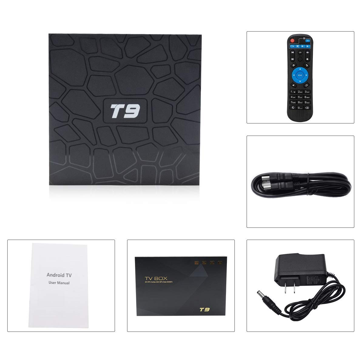 2018 T9 tv box android 8,1 WIFI 4 GB 64 GB TV Box Bluetooth 4,0 RK3328 Quad Core 4G 32G caja de tv inteligente Set Top android 8,1 Caja 5g - 6