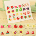Hot 12 Pairs/Set Girl Fashion Hot Sale Fruit Shape Ear Stud Colorful Earrings Jewelry Gift