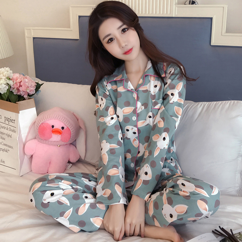 Yuzhenli Cute Rabbit Pajama Set Women 2 Pieces Set Cardigan Top Pants Elastic Waist Pajamas Loose