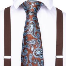 Luxury Brown Unisex Adult Suspenders Men 3.5 Width 6 Clip Suspender Mens Paisley Tie Adjustable Elastic Braces BD011-7117