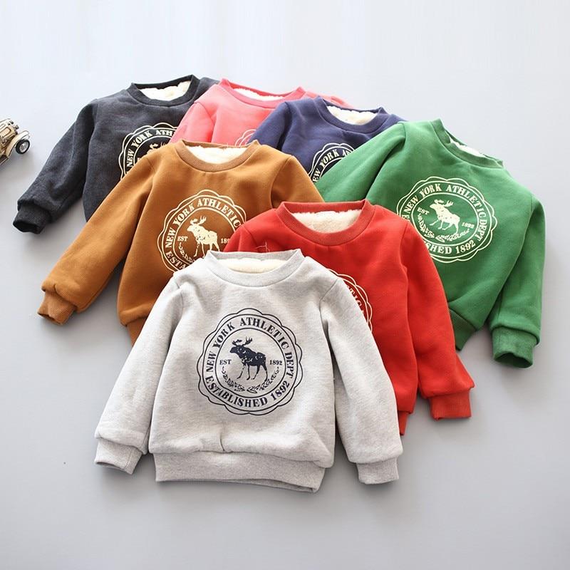 BibiCola Baby Boys Girls Hoodies Clothes Children Winter Thick Sweatshirts Toddler Casual Sweater Kids Plus velvet Tops Costume