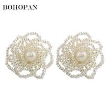 Korean Pearl Flower Earrings For Women Alloy Chic Vacation Stud Earrings Charm Fashion Jewelry Accessories Big Ear bijoux femme недорого