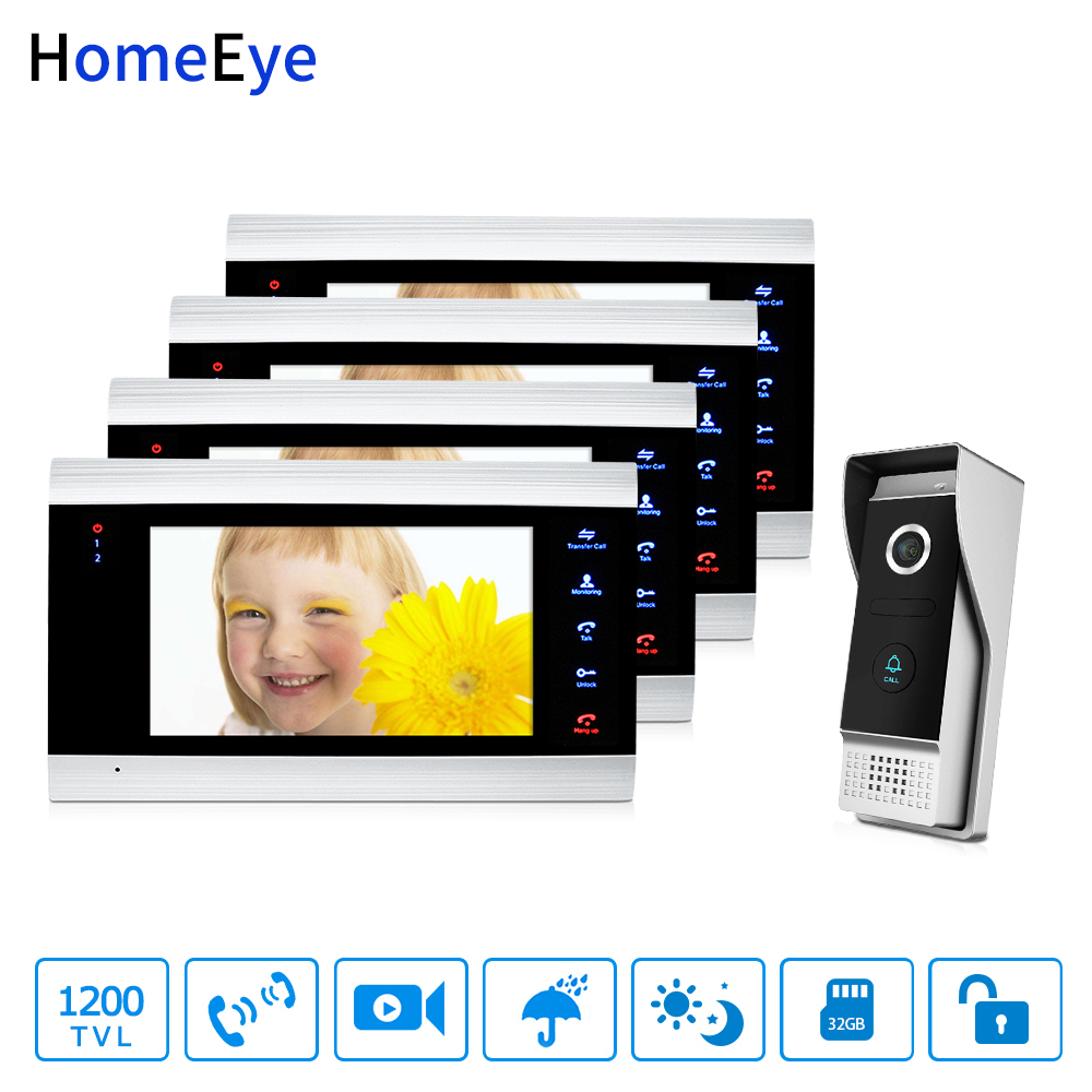 HomeEye 7'' 1200TVL Video Door Phone Video Intercom 1-4 Security Access System Waterproof Motion Detection OSD Menu Night Vision