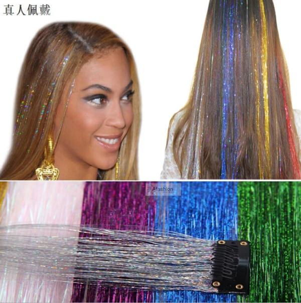 10pcs Synthetic Laser Clip in Accessory Straight Extensions color cosplay crochet braiding aplique de cabelo ...