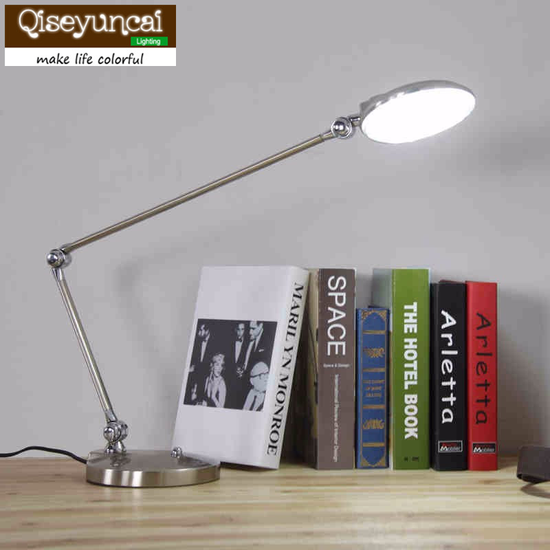 Qiseyuncai Modern long arms folded Table lamp business learning office shield an eye touch 6 W LED Table lamp modern business information systems
