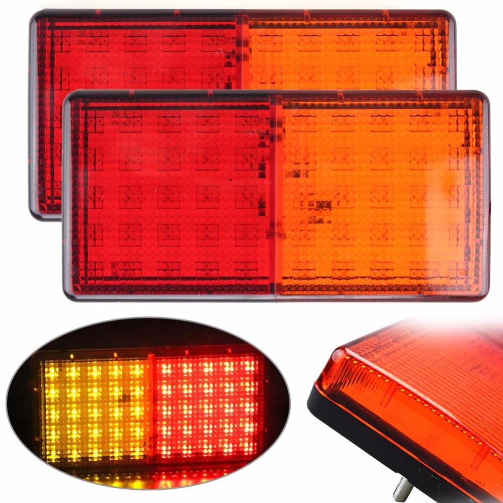 New 1 Pair Left right Car Rear Brake Light 50 LEDs Taillight Plastic Parking Stopping Lights Lamp for Boat Truck Trailer Caravan car light left