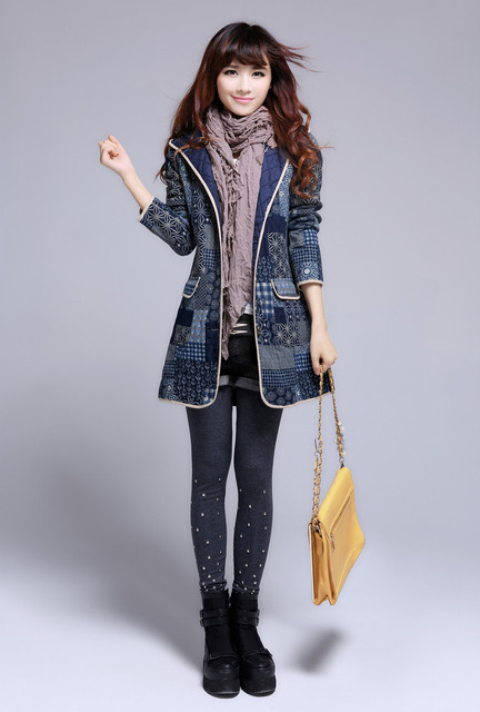 Hot Sale Women Coat Winter Warm Slim Trench Coats Hooded Printing Long Outwear Clothing