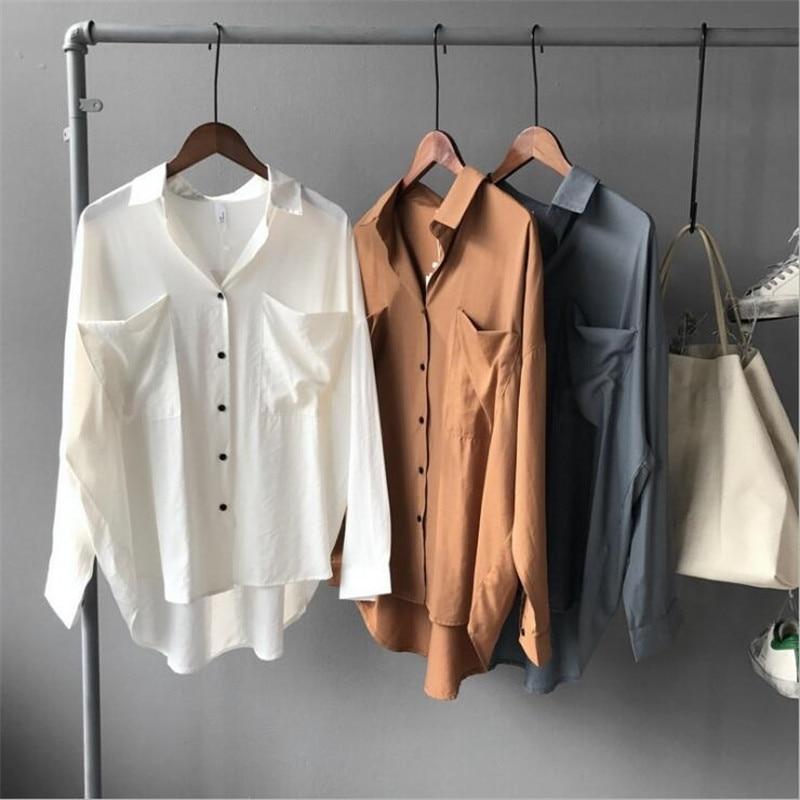 Loose White Women   Blouse     Shirt   2018 Spring Woman   Blouses   Boyfriend style Lady Elegant Loose Tops Large Casual Chiffon Blusas
