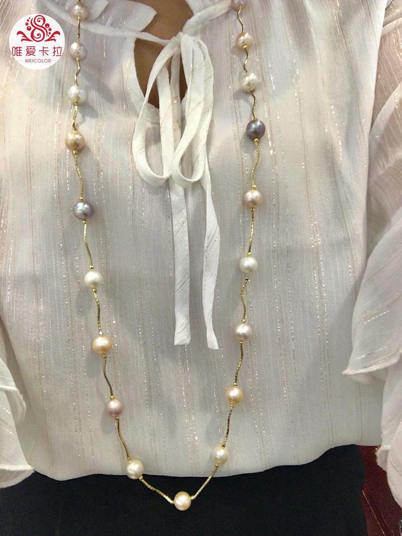 WEICOLOR модный свитер Necklace.100cm (с застежкой) Многоцветный 10 12 мм пресноводный жемчуг почти круглой формы на золотые трубы.